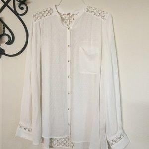 FP 'Best Button Up' Lace Panel Blouse Sz L White